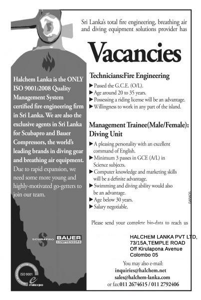 Vacancies Halchem Lanka